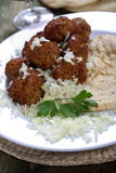 Rice and meat balls Stock Photos