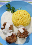 Rice with meat balls Stock Photo