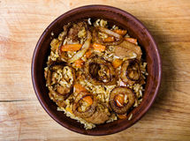 Rice with meat in plate Royalty Free Stock Photography