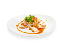 Rice with meat with sauce Royalty Free Stock Photos
