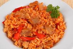 Rice and meat. Serbian rice and meat with tomato sauce Royalty Free Stock Photo