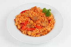 Rice and meat. Serbian rice and meat with tomato sauce Royalty Free Stock Photography