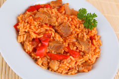 Rice and meat. Serbian rice and meat with tomato sauce Stock Image