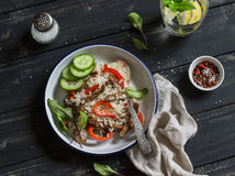 Rice with meat and sweet red pepper. Healthy delicious lunch. Stock Images