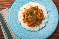 Rice with meat in tomato sause Stock Image