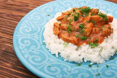 Rice with meat in tomato sause Stock Images