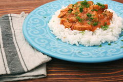 Rice with meat in tomato sause Stock Photos