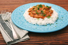 Rice with meat in tomato sause Royalty Free Stock Image