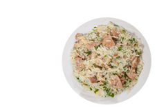 Rice with meat. top view. isolated Stock Images