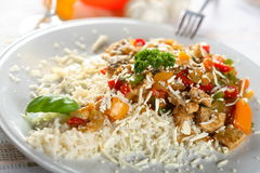 Rice with meat and vegetables Royalty Free Stock Photography
