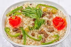 Rice with meat and vegetables Royalty Free Stock Photos