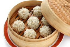 Rice meatballs in the  bamboo steamer , chinese fo Stock Photography