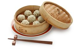 Rice meatballs in the  bamboo steamer , chinese fo Royalty Free Stock Photos