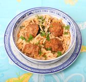 Rice with meatballs Stock Photo