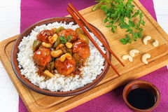 Rice and meatballs stewed in sauce Royalty Free Stock Photography