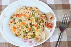 Rice med grönsaker Royaltyfri Foto