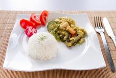 Rice med grönsaker och höna Arkivbild