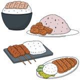 Rice med pork royaltyfri illustrationer