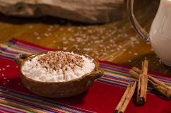 Rice with milk and cinnamon. Rice with milk and cinnamon in clay bowl Royalty Free Stock Images