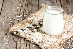 Rice milk, with rice grains Stock Photo