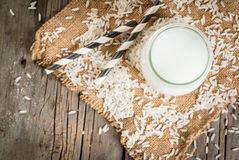 Rice milk, with rice grains Royalty Free Stock Photo