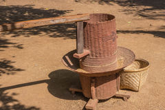 Rice mill. Hand work rice mill in local Thailand royalty free stock photo
