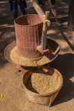 Rice mill. Hand work rice mill in local Thailand stock photos