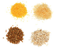 Rice, millet, buckwheat, pearl barley Royalty Free Stock Photos