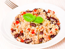 Rice with minced meat and beans Royalty Free Stock Photos