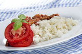 Rice with minced meat and tomato Stock Photos