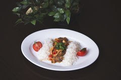 Rice with minced meat and tomato sauce. Chicken curry with rice and cilantro on white plate close up horizontal. Stock Photography
