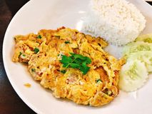 Rice with minced pork omelette. Rice with minced pork omelette in Thailand royalty free stock photo