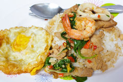 Rice and mixed seafood basil and fried egg. royalty free stock photography