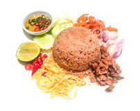 Rice Mixed with Shrimp paste. Rice Mixed with Shrimp paste on isolated Royalty Free Stock Photos