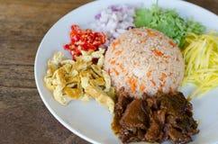 Rice Mixed with Shrimp paste Stock Photos