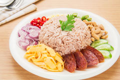 Rice mixed with shrimp paste, Thai food style Stock Photos
