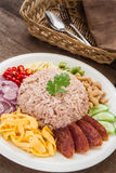 Rice mixed with shrimp paste, Thai food style Stock Photo