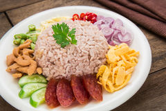 Rice mixed with shrimp paste, Thai food style Stock Image