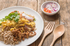 Rice Mixed with Shrimp paste, Thai style Royalty Free Stock Image