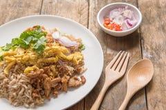 Rice Mixed with Shrimp paste, Thai style Stock Photos
