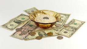 Rice and Money Royalty Free Stock Photos