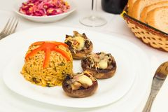 Rice with mushrooms. Dinner in restaurant with mushrooms and rice stock photography