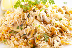 Rice with mushrooms Stock Photo