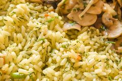 Rice with mushrooms. Close-up of rice with herbs and mushroom for food background stock photography