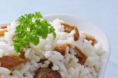 Rice with mushrooms, closeup Royalty Free Stock Photos