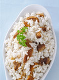 Rice with mushrooms, closeup Royalty Free Stock Photo
