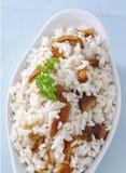 Rice with mushrooms, closeup Royalty Free Stock Photo