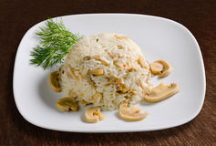 Rice with mushrooms Royalty Free Stock Photos