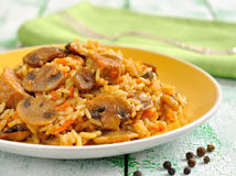 Rice with mushrooms and meat Royalty Free Stock Images