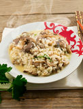 Rice with mushrooms and parsley Royalty Free Stock Photo